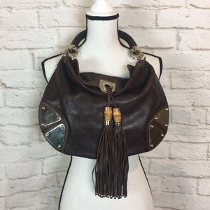 GUCCI GG Monogram Leather Babouska Bamboo Tassel
